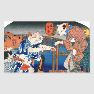Utagawa country 芳 'enjoying the cool air of cat' rectangular sticker