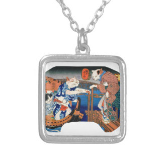 Utagawa country 芳 'enjoying the cool air of cat' silver plated necklace