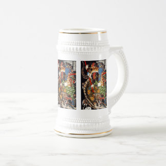 Utagawa country 芳 'mountain shark suppression of beer stein