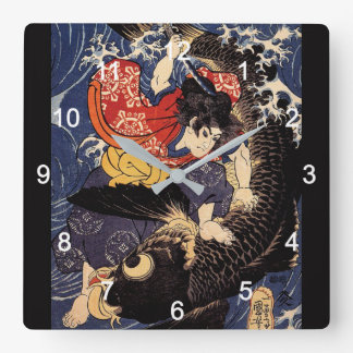 """""""Utagawa country 芳"""" """"the ogre it is young the Square Wall Clock"""