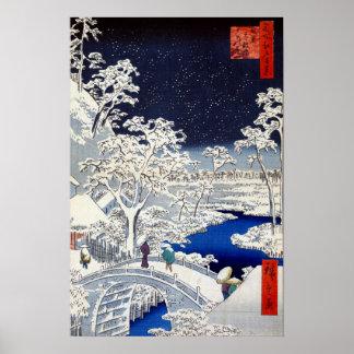 Utagawa Hiroshige Meguro Drum Bridge Sunset Hill Poster