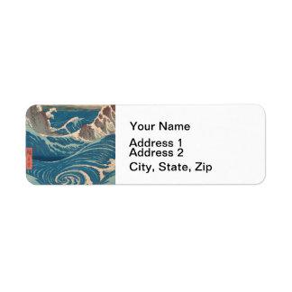 Utagawa Hiroshige Naruto Whirlpool Return Address Label