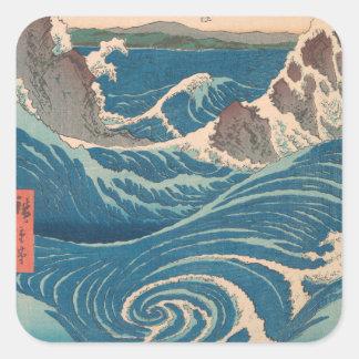 Utagawa Hiroshige Naruto Whirlpool Square Sticker