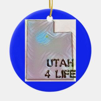 """""""Utah 4 Life"""" State Map Pride Design Ceramic Ornament"""