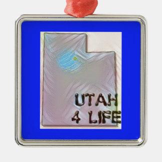 """""""Utah 4 Life"""" State Map Pride Design Metal Ornament"""