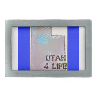 """""""Utah 4 Life"""" State Map Pride Design Rectangular Belt Buckle"""