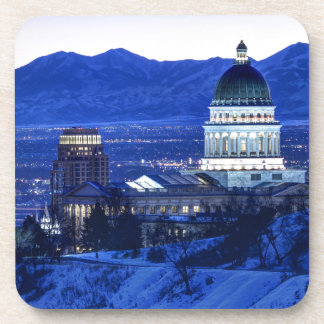 Utah Capitol And Oquirrh Mountains Winter Sunset Drink Coaster