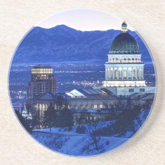 Utah Capitol And Oquirrh Mountains Winter Sunset Sandstone Coaster