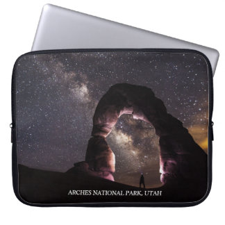 Utah Delicate Arch night stars milky way landscape Laptop Sleeve