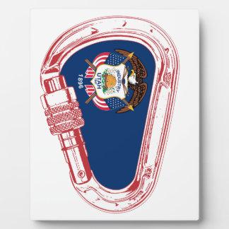 Utah Flag Climbing Carabiner Plaque