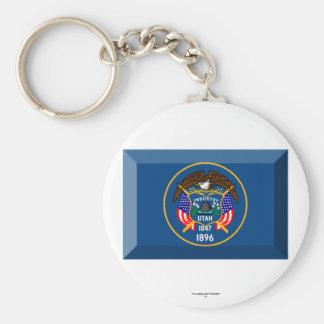 Utah Flag Gem Basic Round Button Key Ring