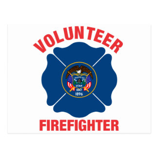 Utah Flag Volunteer Firefighter Cross Postcard