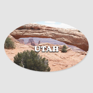 Utah: Mesa Arch, Canyonlands National Park, USA Oval Sticker