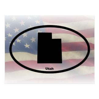 Utah Silhouette Oval Design Postcard
