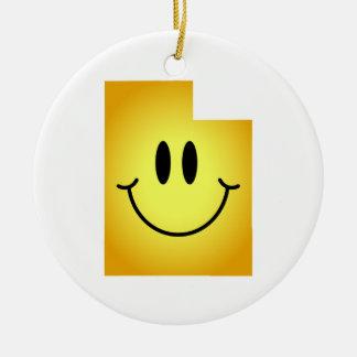 Utah Smiley Face Round Ceramic Decoration