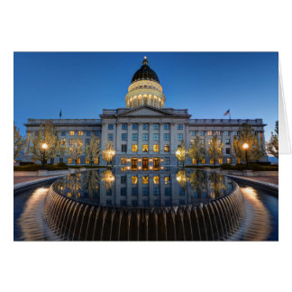 Utah State Capitol In Reflecting Fountain At Dusk Card