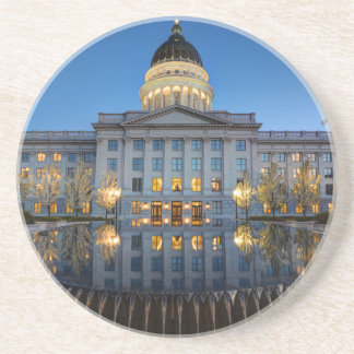 Utah State Capitol In Reflecting Fountain At Dusk Drink Coaster