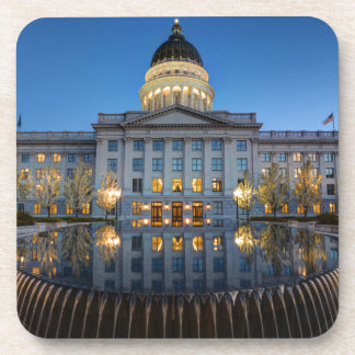 Utah State Capitol In Reflecting Fountain At Dusk Drink Coasters
