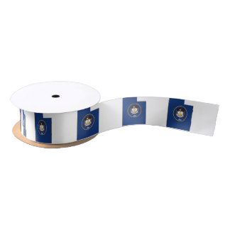 Utah State Flag and Map Satin Ribbon