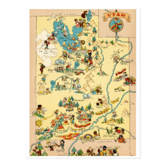 Utah Vintage Funny Map Postcard