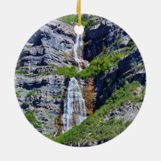 Utah Waterfall #1a- Christmas Ornament - round