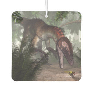 Utahraptor dinosaur hunting a gecko