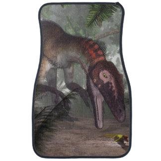 Utahraptor dinosaur hunting a gecko floor mat