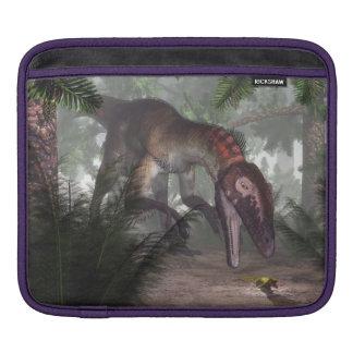 Utahraptor dinosaur hunting a gecko iPad sleeve