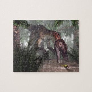 Utahraptor dinosaur hunting a gecko jigsaw puzzle