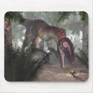 Utahraptor dinosaur hunting a gecko mouse pad