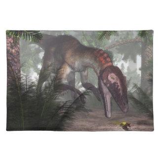 Utahraptor dinosaur hunting a gecko placemat