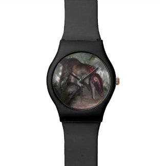 Utahraptor dinosaur hunting a gecko watch