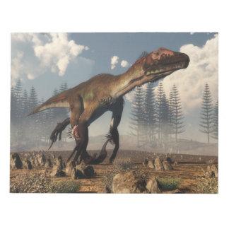 Utahraptor dinosaur in the desert - 3D render Notepad