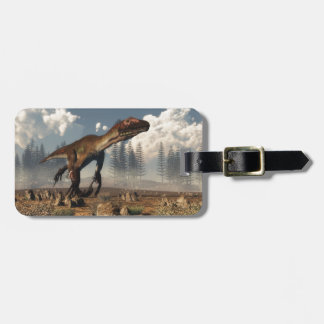 Utahraptor dinosaur in the desert luggage tag