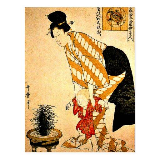 Utamaro - Flower Patterned Cotton Post Card