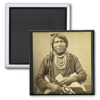 Ute Indian with Pistol and Card Square Magnet