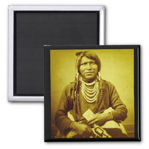 Ute Indian with Pistol Vintage Stereoview Magnet