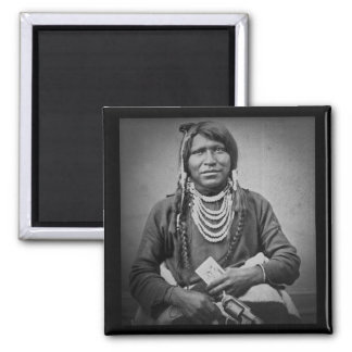 Ute Indian with Pistol Vintage Stereoview Square Magnet
