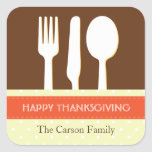 Utensil place setting orange brown thanksgiving square stickers