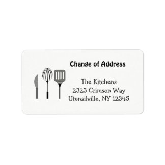 Utensils for the Kitchen New Address Address Label