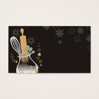 Utensils vase flowers baking business card b