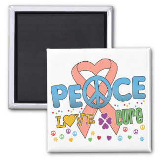 Uterine Cancer Groovy Peace Love Cure Square Magnet