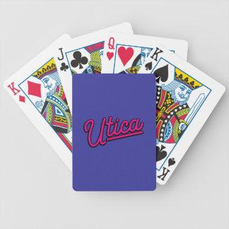 Utica neon light in magenta poker deck