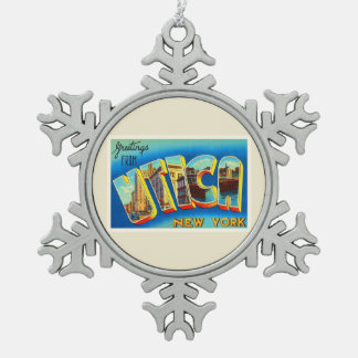 Utica New York NY Old Vintage Travel Souvenir Snowflake Pewter Christmas Ornament