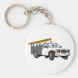 Utility Pick Up Truck Grey White Cartoon Basic Round Button Key Ring