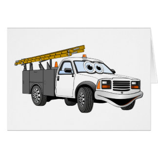 Utility Pick Up Truck Grey White Cartoon Greeting Card