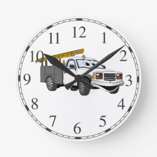 Utility Pick Up Truck Grey White Cartoon Clocks