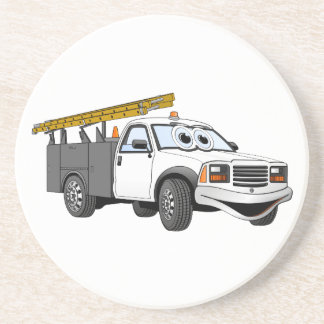 Utility Pick Up Truck Grey White Cartoon Coasters