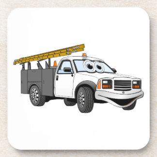 Utility Pick Up Truck Grey White Cartoon Coasters