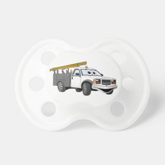 Utility Pick Up Truck Grey White Cartoon Pacifiers